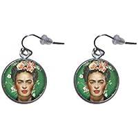 Pendientes de colgar de Acero, Diámetro 20mm, Hecho a Mano Ilustración Frida Feminist 2