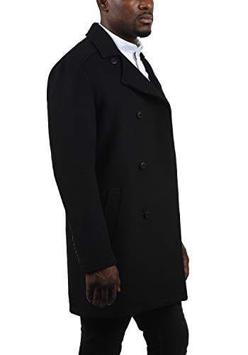 !Solid Harvey Herren Winter Mantel Wollmantel Lange Winterjacke mit Doppelreihiger Knopfleiste, Größe:M, Farbe:Black (9000) - 3
