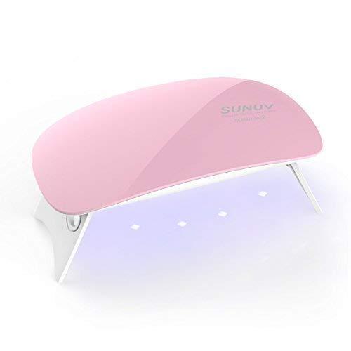 Ovonni Seche Ongle, Mini 6W Lampe UV LED Sèche Ongles Lampe pour Ongles Gel, Mini Lampe Vernis Semi Permanent/Machine Manucure/Lampe Ongle avec 2 Réglage de Synchronisation (45s/60 's) (Rose)