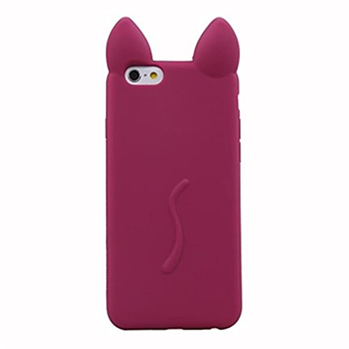 NightKid Chats et chatons mignons d'oreille silicone souple coque (iPhone 5C iPhone 6S iPhone 6 iPhone 5/5S iPhone 4/4S )(iPhone 5C,Brun)