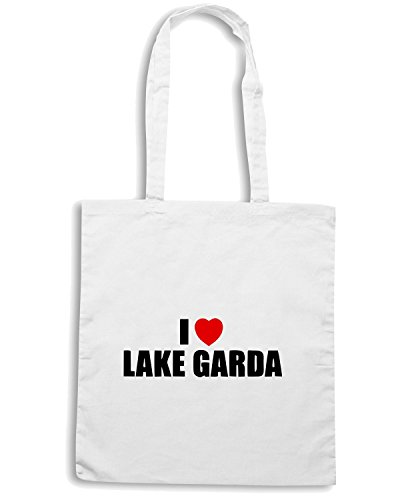 T-Shirtshock - Borsa Shopping TLOVE0054 i love lake garda italy Bianco