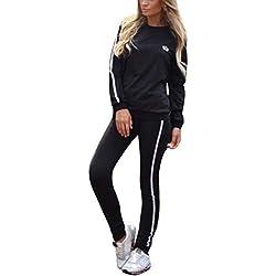 Minetom Femmes Survêtement Ensemble À Manches Longues Rayures Sweat et Pantalon Jogging Yoga Sports Costumes 2 Pièce Survêtement Combinaisons Casual Noir FR 40