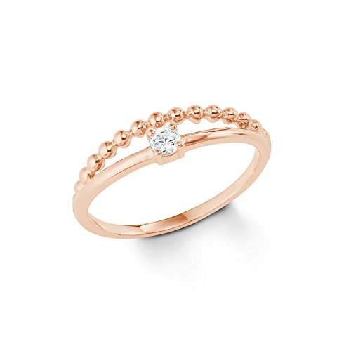 s.Oliver Damen-Ring Sterling Silber 925 rosévergoldet Zirkonia (synth.) rhodiniert-Breite 5mm
