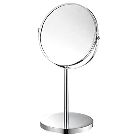 Top Home Solutions Doule Face Miroir de rasage sur pied Chromé Rond Pivotant Loupe de table Make Up miroir cosmétique