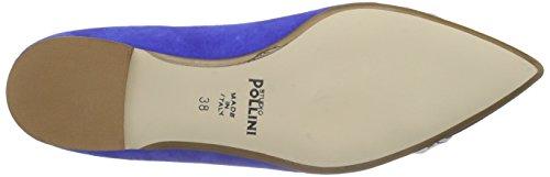 Pollini Scarpad.tunit10 Cam.blue/ner-bia-bt, Ballerines femme Bleu - Blau (70A BLUETTE SUEDE-BLACK-WHITE-PVC POINT)
