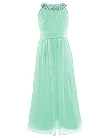 fded64983fd1 Freebily Girls Kids Beaded Halter-Neck Chiffon Bridesmaid Dress Wedding  Party Ball Prom Long Evening Gowns Mint Green Age 13-14 Years: Amazon.in:  Clothing & ...