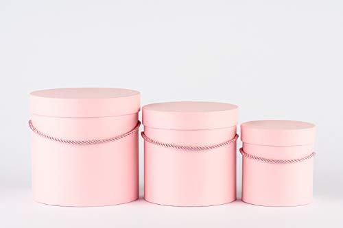 VIPOLIMEX 3er Set runde Blumenboxen mit Kordel, Aufbewahrungsbox mit Deckel, unifarbene Hutschachtel, Geschenkboxen, personalisierbar (Hellrosa 3er Set) -