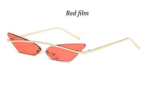 KONGYUER Sonnenbrillen, Brillen,Rote Linse Hip-Hop-Sonnenbrille Für Männer Randlose Triangle-Sonnenbrille Cat Eye-Förmige Frauen Spitze Hippie Retro-Coole Sonnenbrille Uv400
