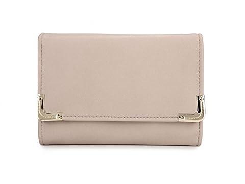 Women's Flap/Zip/Metal Closure Purse Wallet Coint Bag Fashion Designer Celebrity Quality Faux Leather Gorgeous Purses Clutch CWP1052A (APRICOT FLAP PURSES)