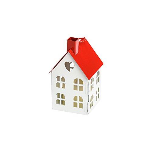 LuminalPark - Farolillo casa en metal blanco y rojo h. 12,5 cm con vela LED, temporizador para Decoración de Interiores y Eventos