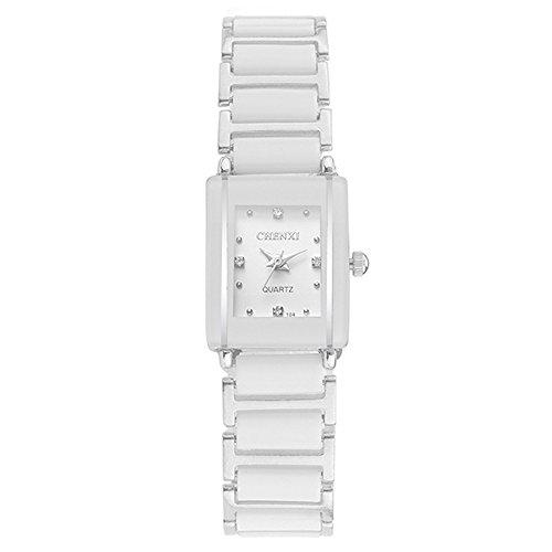 Mode Luxus Couple Damenuhren - Keramik Armband Rectangle Dekorative Strass Quarz Armbanduhren für Damen, Weiß