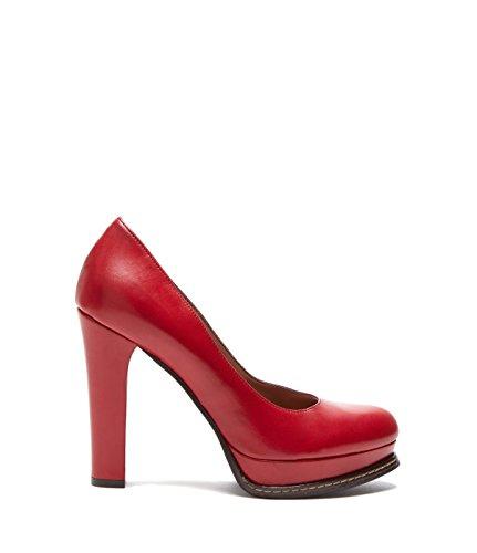 PoiLei Alessia - Damen-Schuhe/Exklusive Plateau-Pumps Aus Echt-Leder - Elegante High-Heels mit Block-Absatz - Rot (Block-heel-schuhe)