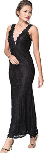 Jeansian Femmes Fashion Sexy Lady Robe Lace Womens Embroidery Cocktail Party Long Dress WHS030 Black