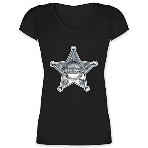 Karneval & Fasching - Cowboy Sheriff Karneval Kostüm - S - Schwarz - XO1525 - Damen T-Shirt mit V-Ausschnitt