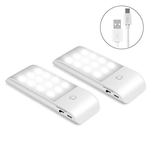 LED Nachtlicht mit Bewegungsmelder LED Licht USB Aufladbare Nachtlampe Schranklicht mit 3 Modi (Auto/ON/OFF), Orientierungslicht für Kinderzimmer, Flur usw. (2 Stück)