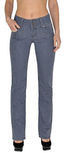 by- tex Damen Jeans Hose Damen High Waist Jeanshose Straight Leg Hochbund Hosen bis Übergröße 54, 56 #J23 (Jeans Bein Plus Size Gerades)