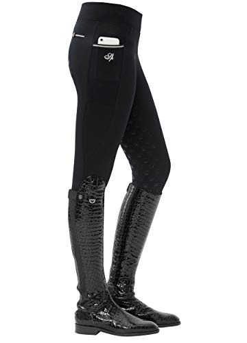 SPOOKS Damen Reitleggins Reithose Vollbesatz, Damenreithose Reithosen Turnierreithose Vollbesatzreithose - Sanne Full Grip Leggins - Black XS