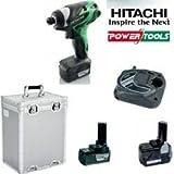 Hitachi Akku-Schlagschrauber WH 10DL 10,8Volt 1,5Ah Li-Ion im Set mit Ladegerät, Koffer und 1x Akku mit 3,0Ah Li-Ion EXTRA