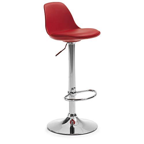 Kave Home - Taburete Alto de Bar Rojo Orlando-T con Respaldo, Asiento tapizado en Piel sintética y con pie de Acero