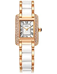 Barbie Womens Fashion Diamond-set Alloy Plating Simulated Ceramics Jewelry Clasp Analog Quartz Watch Japan Movt Watches #B50585L (white)