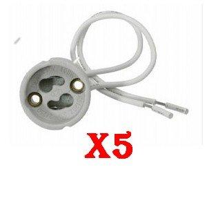 LOT 5 DOUILLE GU10 POUR AMPOULE SPOT LED HALOGENE ECONOMIQUE. NORME CE. LIVRAISON RAPIDE EN SUIVI.