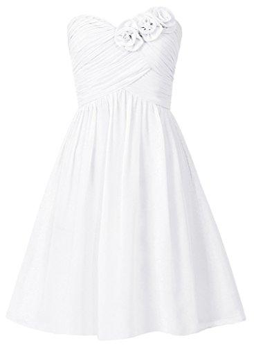 HUINI Riemen Bogen Kurzen Chiffon Prom Brautjunferkleider Partei V-Ansatz Formale Kleider Weiß