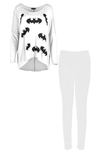 Femmes Batman Imprimé Montantes Basses Baggy Jog Suit Vêtement De Loisirs Leggings Set Survêtement Mesdames Blanc