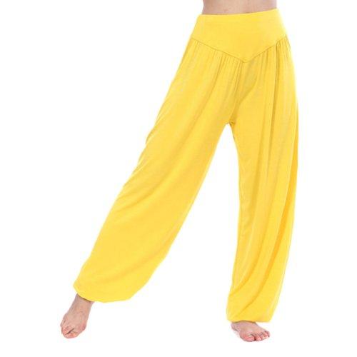 HOEREV Super weiche Modal Spandex Harem Yoga Pilates Hosen, Gr.-Large,Gelb