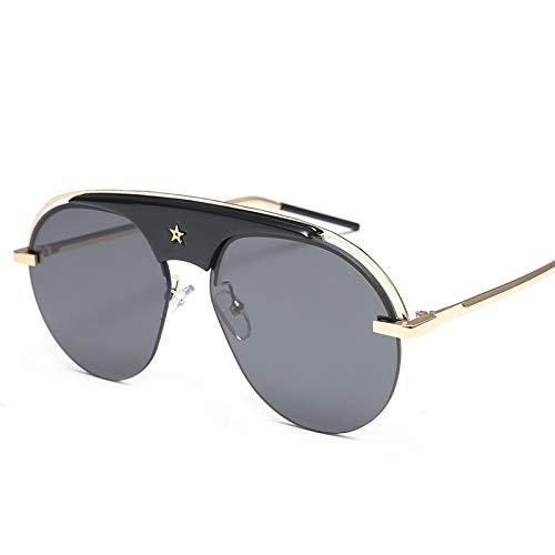 HDJC Sonnenbrillen rundes Gesicht einzigartiges Metallrahmen-Design lässig einfache UV400 Mode Sonnenbrillen,Black