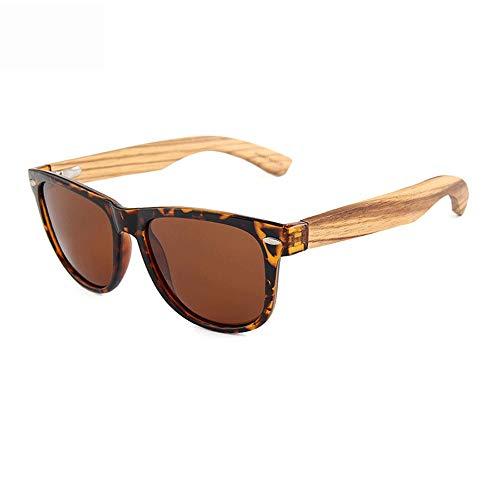 LULUVicky-CS Mens Womens Classic Sonnenbrille Walnuss-Holz-Sonnenbrille polarisiert für Männer und Frauen, die 100% UV blockieren Polarisierte verspiegelte Linse (Farbe : Braun, Größe : Casual Size)