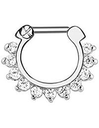 Gekko Body Jewellery piercing estilo Daith tipo anillo para el tabique de la nariz con gemas de circonitas transparentes de 1,2mm