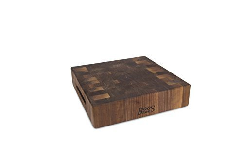 John Boos End Grain Reversible Chopping Block with Finger Grips, 12 by 12 by 3