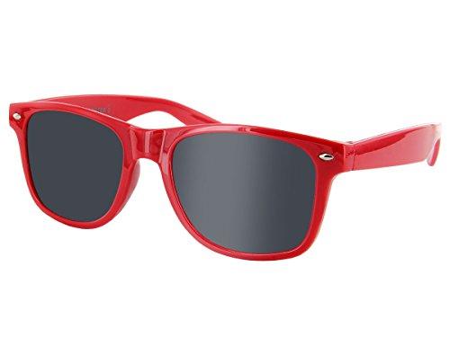 Wayfarer Atzen Sonnenbrille Nerd Brille Hornbrille alle Farben, wählen:816F rot