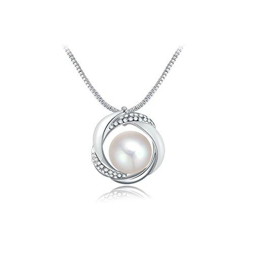 Da donna Platino placcato cristalli pavimentazione ciondoli con perla d