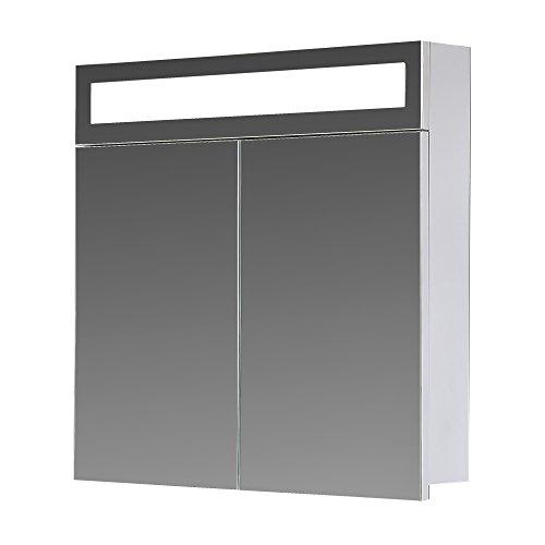 #Eurosan Paris, P60, 2-türiger Spiegelschrank, Superflache, Integrierte LED-Frontbeleuchtung, Breite 60 cm, Weiß#
