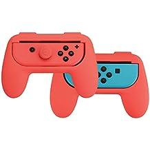 AmazonBasics - Kit de empuñaduras para mandos Joy-Con de Nintendo Switch - Rojo