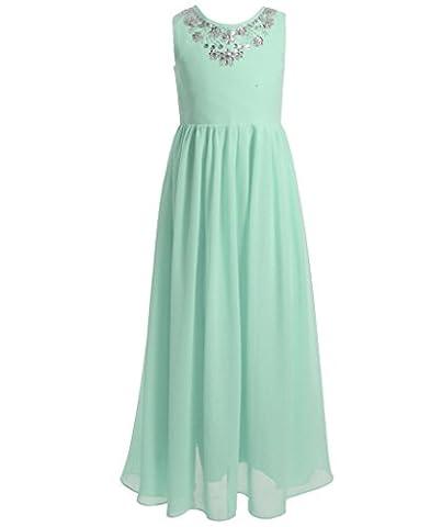 FAIRY COUPLE Girl's Spaghetti Strap Puffy Ruffled Long Flower Girl Dress K0149 14 Mint