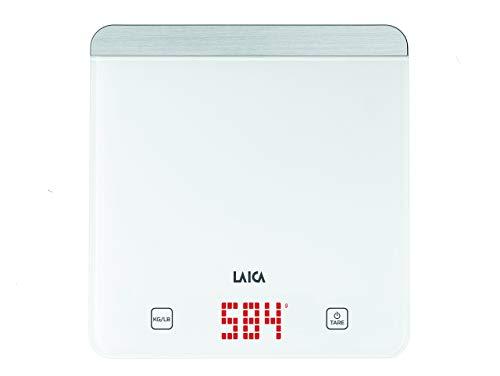 Laica ks1601 bilancia da cucina elettronica, colore bianco, vetro temperato, tasti touch sensor, display led rossi, 5 kg