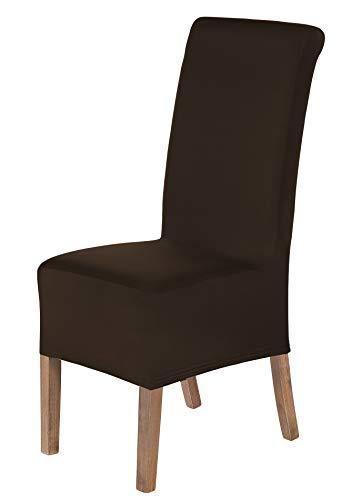 SCHEFFLER-Home Lena 2er Set Stuhlhussen Stretch, Stuhlabdeckung elastisch, Husse Spannbezug mit Gummiband, braun