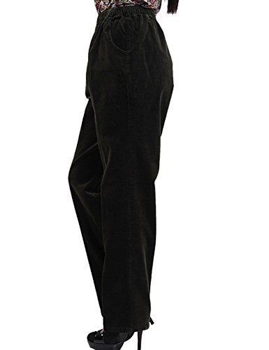 Youlee Donna Vita alta Pantaloni dritti Pantaloni di velluto a coste con tasche Verde scuro