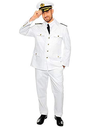 Maskworld Authentisches Kapitän Kostüm - Verkleidung Uniform Anzug für Seefahrer - Karneval Fasching & Halloween - Größe - Marine Offizier Uniform Kostüm