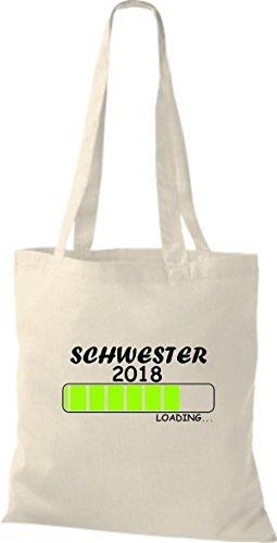ShirtInStyle Stoffbeutel Baumwolltasche SCHWESTER 2018 Loading Geburt Geschenk Natur