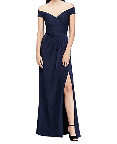 Viloree Damen Ärmellos V-Ausschnitt Brautjungfer Cocktail Langes Kleid Ballkleid A-Linie Navy M