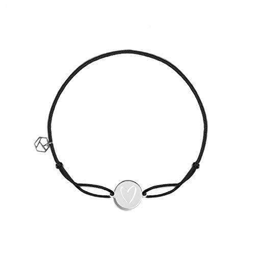 prettique Stoffarmband Heart aus Nylon, Anhänger mit Herzgravur aus 925 Sterlingsilber, nickelfrei