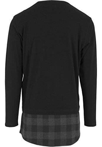 Urban Classics Herren Langarmshirt Shaped Flanell Bottom Long Sleeve Pocket Tee Schwarz/Cha