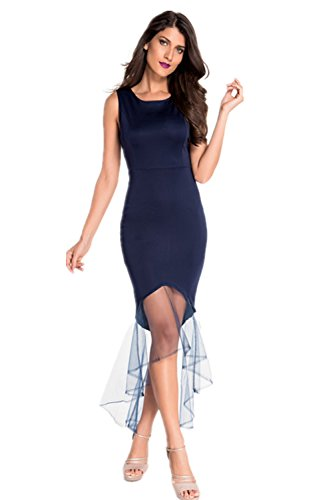 Loveours Langes Fishtail Ärmellos Abendkleid Partykleider Blau
