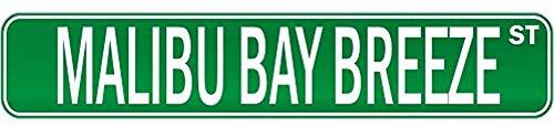 Fhdang Decor Malibu Bay Breeze Street Drink Drunk Drunkard Metallschild Straßenschild Aluminium Schilder Getränke, 10,2 x 45,7 cm