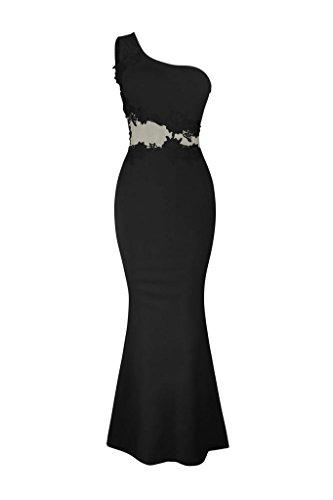 Amlaiworld elegant Damen Frühling eng lang Kleid Retro trägerlos abendkleider Spitze blumen Kleider party Vintage cocktailkleid Schwarz
