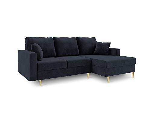 Mazzini sofas - divano angolare destro convertibile con cassettone, mughetto, 4 posti, 225 x 145 x 90 cm, colore: blu scuro