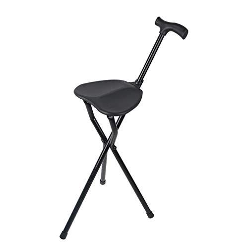YTDDD Einstellbare Klapp Gehstock Stuhl, Massage Gehstock mit Sitz, tragbare Angeln Rest Hocker, mit LED-Licht für ältere -